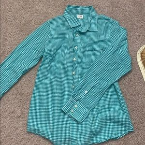 J.Crew green and white plaid button up